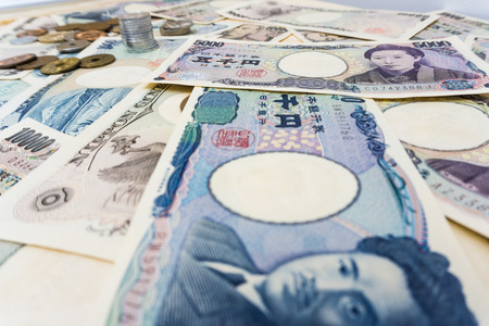 japanese currency: 1000 and 5000 Japanese currency notes background , Japanese Yen Stock Photo