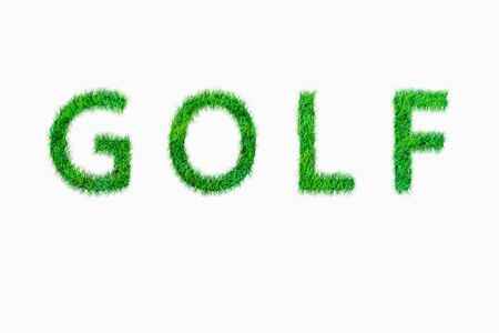 Golf alphabet from green nature grass on white background Stock Photo