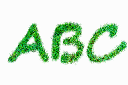 Green nature real grasss abc font isolated on white