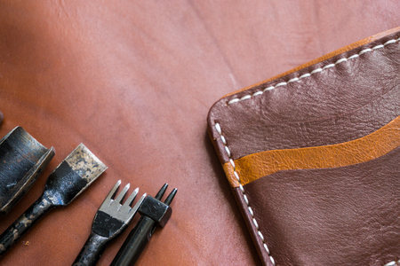 Genuine leather craft object with tool using for wallet DIY tools Stock Photo