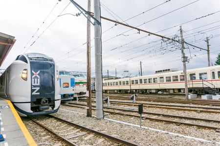 treno espresso: TOKYO, JAPAN - OCTOBER 23 2016: Narita Express is a limited express train serves Narita International Airport from various Greater Tokyo Area stations Editoriali