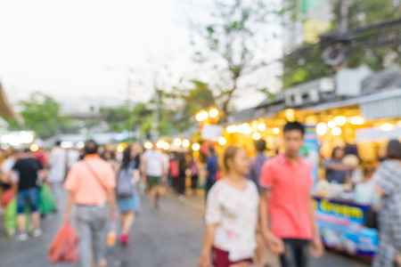 Abstract blurred crowd of people in Chatuchak weekend Souvenir market, Thailand