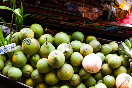 Traditional fruit and vegetable in floating market, thailand Stock Photo