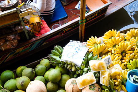 Traditional fruit and vegetable in floating market, thailand Editorial