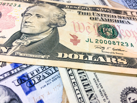 frail: Stacking of USD money background, Us dollar close up Stock Photo
