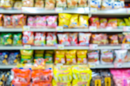 Supermarket blurred convenience store background, Product on shelf