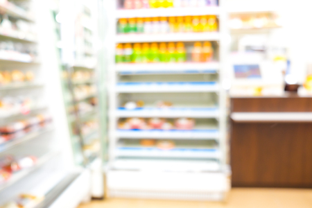 Blurred store of supermarket food zone Stock Photo