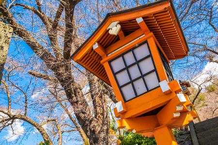 Red pole in path way up to Chureito pagoda fuji mountain viewpoint in Shimoyoshida, Japan Stock Photo