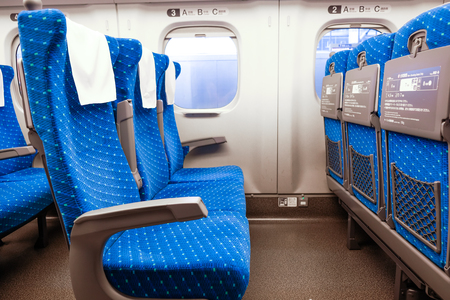 Interior of Japanese Passengers seat bullet train Hikari, Shinkansens of Japan. Editorial