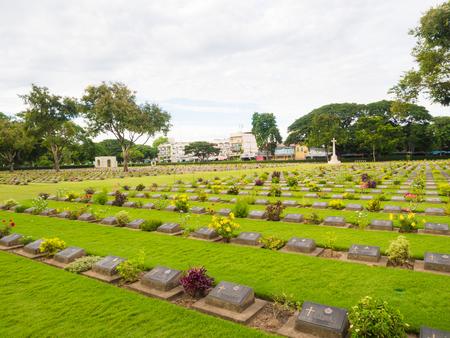 Kanchanaburi War Cemetery graveyard, Thailand Editorial