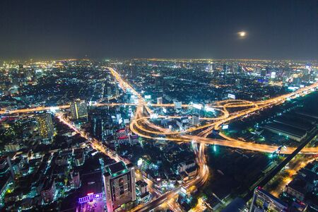 Expressway intersection road at night in Bangkok city , landscape Thailand Editorial
