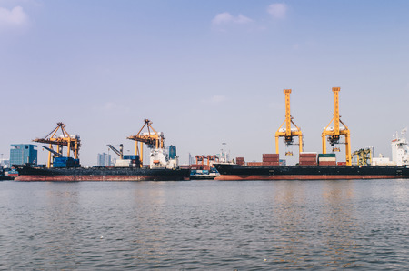 Container cargo ship machine import and export industry, Logistic business Stock Photo