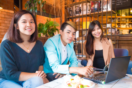 Group of friend with food and coffee drink having a fun, Business team concept