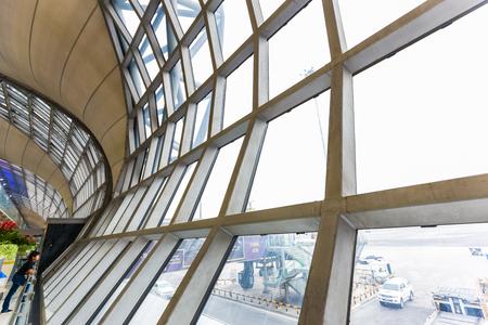 futuristic interior: Interior terminal of modern airport, Bangkok Thailand