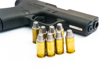 .45 Pistol with full lead jacket, 11mm gun isolated on white background Stock Photo