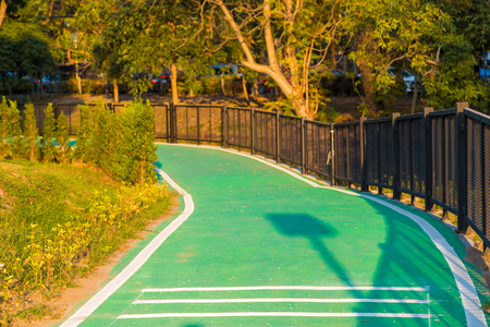 transporte terrestre: Green bicycle road in park with blue sky and sunset Foto de archivo