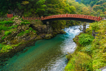 Shinkyo Bridge red wood in Nikko heritage, Japan