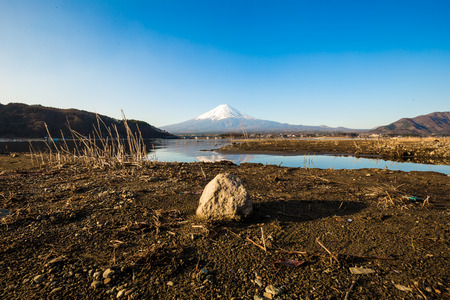 Fuji mountain with snow hat foreground with grass in kawaguchiko lake, Japan Stock Photo