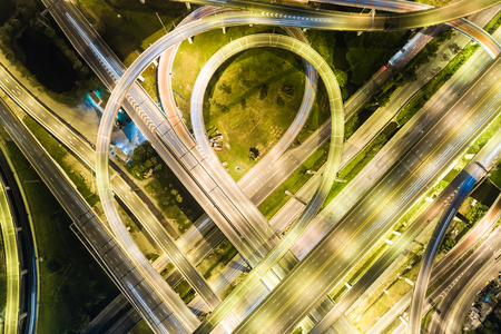 Express way night traffic top view road roundabout Stock Photo