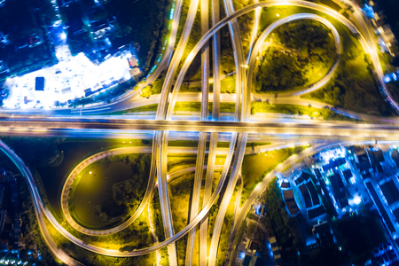 Expressway night traffic light with car look down view by drone Stock Photo