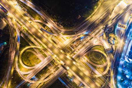 Express way night traffic top view road roundabout Standard-Bild