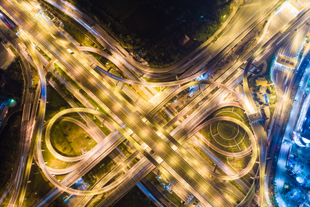 Express way night traffic top view road roundabout