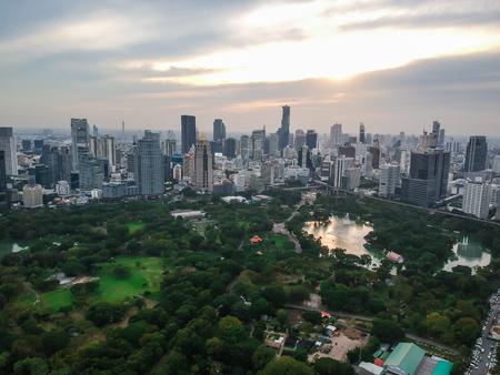 Bangkok skyline with green park sunset, Thauland Editorial