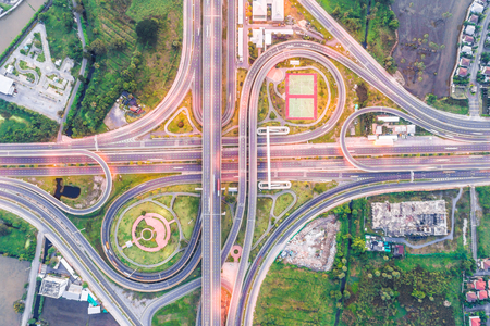 Intersection traffic road aerial view in morning transport industrail Stok Fotoğraf