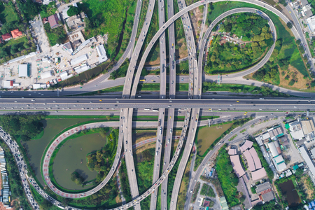 Transport circular junction traffic road with car aerial view Stok Fotoğraf