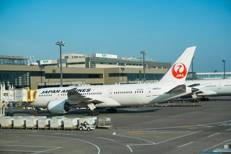 Narita, Japan 6 Aprill 2017 Japan Airline aircraft docking at Tokyo NArita Airport.  Narita is a hub for Japan Airlines (JL) and All Nippon Airlines ANA (NH).