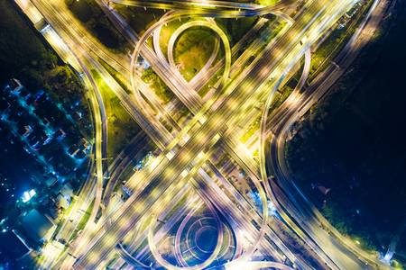 Night traffic aerial view vehicle light movement junction city road Stock Photo