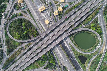 Traffic city road with motorway fee port aerial view