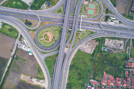 City traffic intersection circular road with building aerial view
