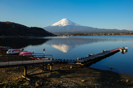 Fuji mountain with snow blue sky background spring time