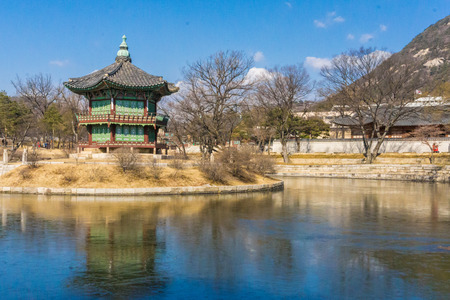 Old gyeongbokgung palace historic architecture in seoul, Korea