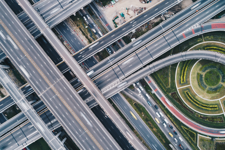 Intersection cross traffic city road with vehicle transport aerial view Stock Photo