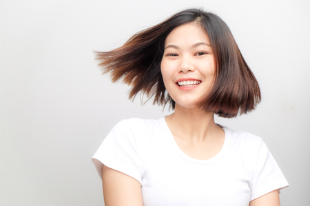 Healthy asian women smiling on white background, Fashion women