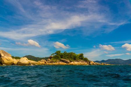 Beautiful exotic island with green tree blue Andaman sea, Lipe Thailand
