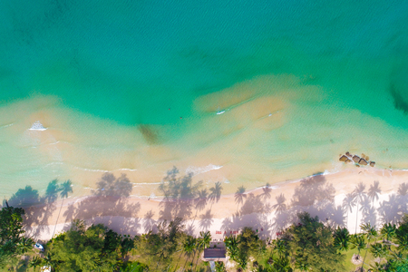 Aerial photo nature landscape of idyllic white sand beach with coconut tree turquoise water