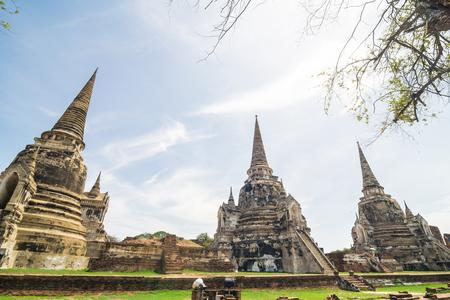 Architecture of buddha old temple blue sky Ayuthaya, Thailand