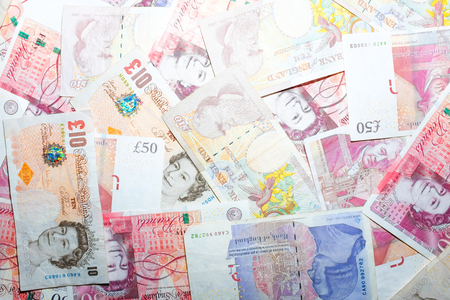 GBP money bill close up finance background, Business concept