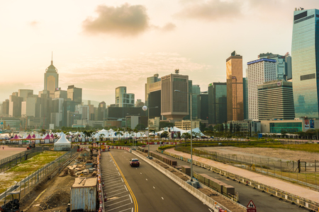 Hongkong skyline cityscape modern financil building with road in morning