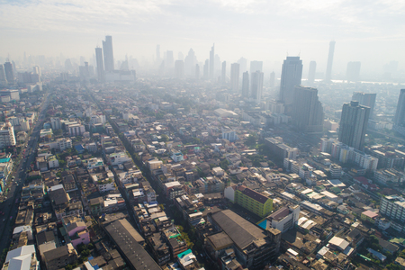 Bangkok building of house and flat with traffic road aerial view Stock Photo