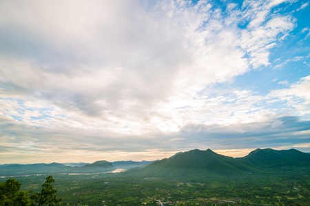Landscape mountain sunrise blue sky with cloud summer vacation background Stock Photo