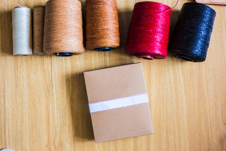 Colorful many wax thread leather work object, Craftsmanship concept Stock Photo