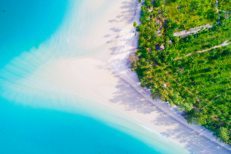 Aerial view Idyllic white sand sea beach turquoise water summer vacation background