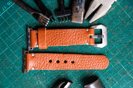 Genuine leather watch band strap handmade of crafts working with metal tool