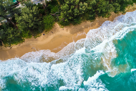 Amazing aerial view of sea beach wave turquoise water nature landscape
