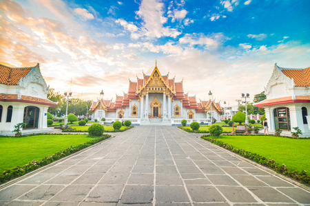 Marble buddhist Bangkok Wat Benchamabophit temple evening sunset sky with cloud, Thailand Reklamní fotografie