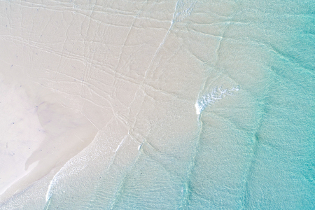 Aerial view nature bacakground of white sand beach turquoise clear water, Seascape